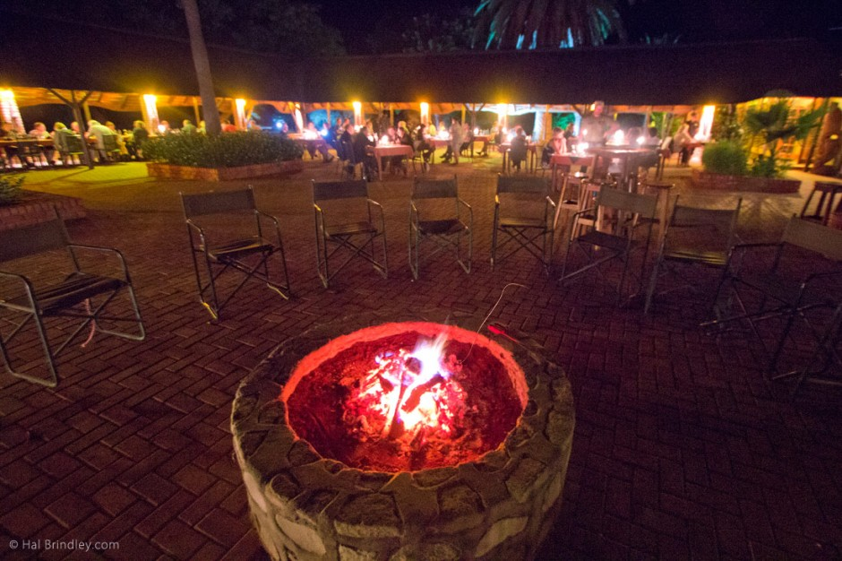 The fire pit and outdoor dining area