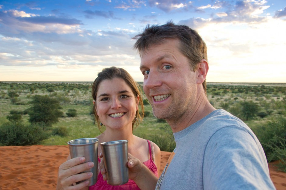 Sundowner in the Kalahari
