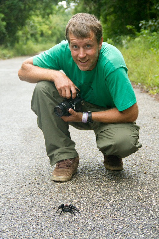 Hal photographing a red-rumped tarantula in Calakmul Biosphere Reserve, Mexico