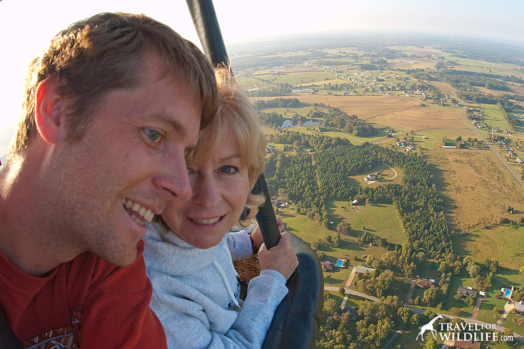 Mom and me on a balloon ride.