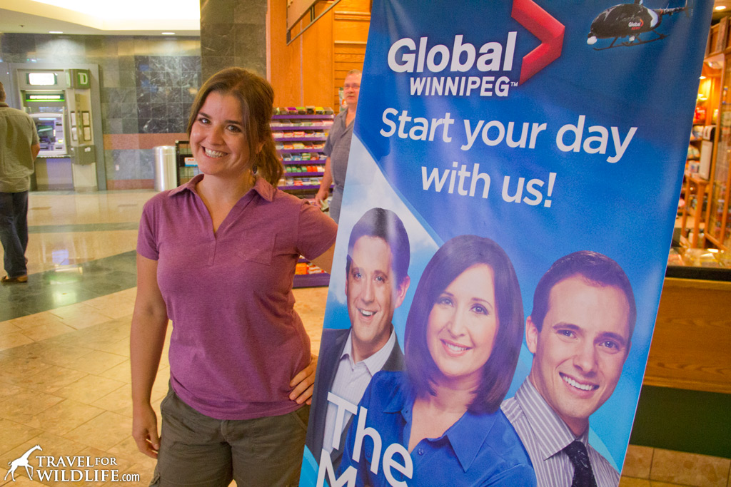 Cristina on the set for Global News