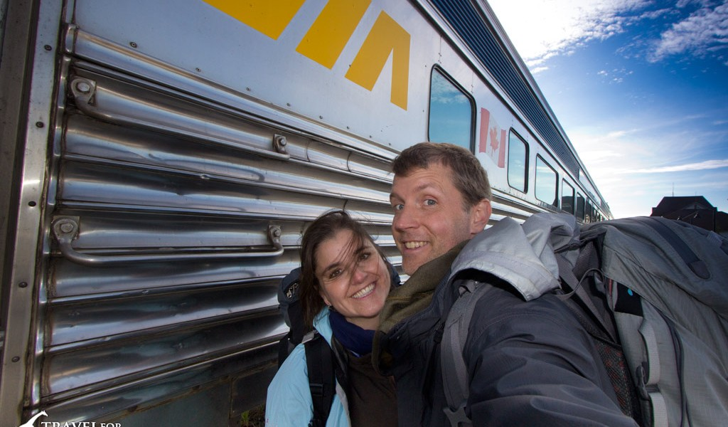 Cristina and Hal taking the cheapest & 2nd fastest way to Churchill (drive & train)