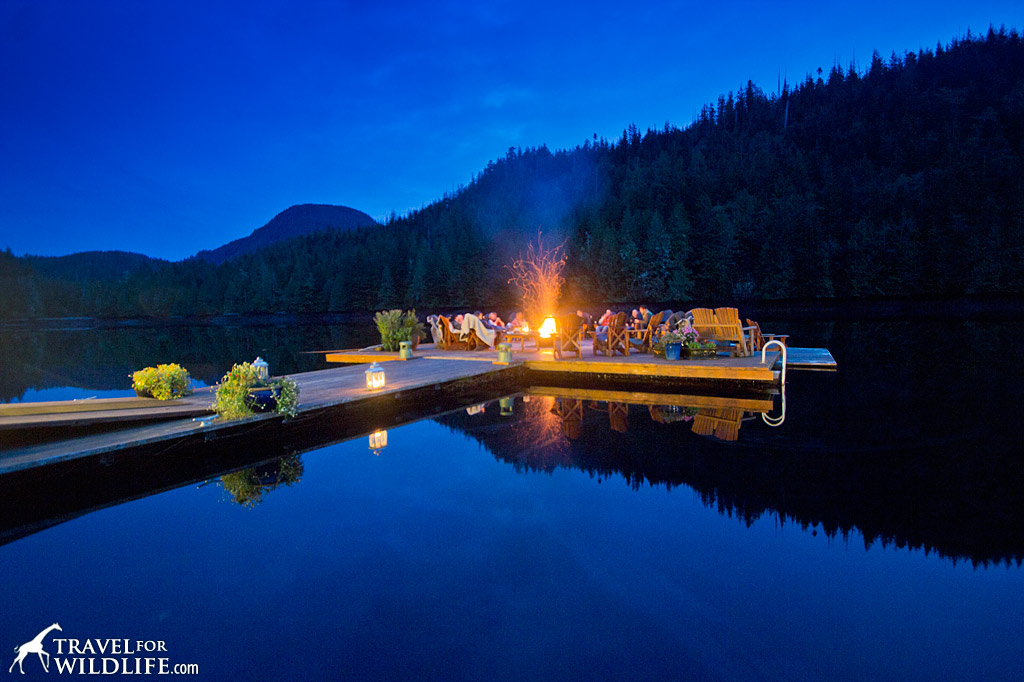 The floating fire dock in front of Nimmo Bay lodge